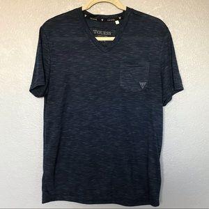EUC GUESS V-Neck Blue Short Sleeve Pocketed Shirt